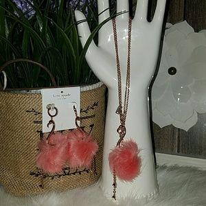 Kate spade flamingo pool earrings and necklace set